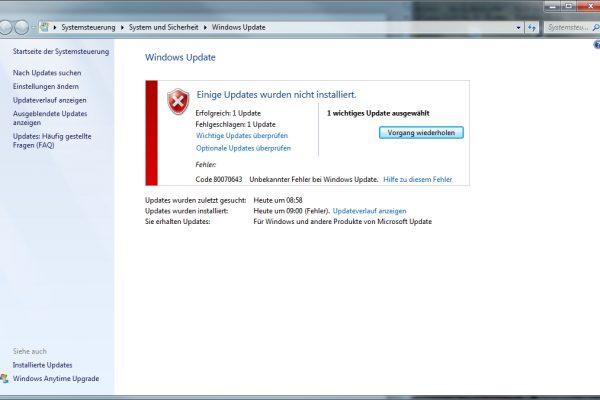 Update Fehler Code 80070643