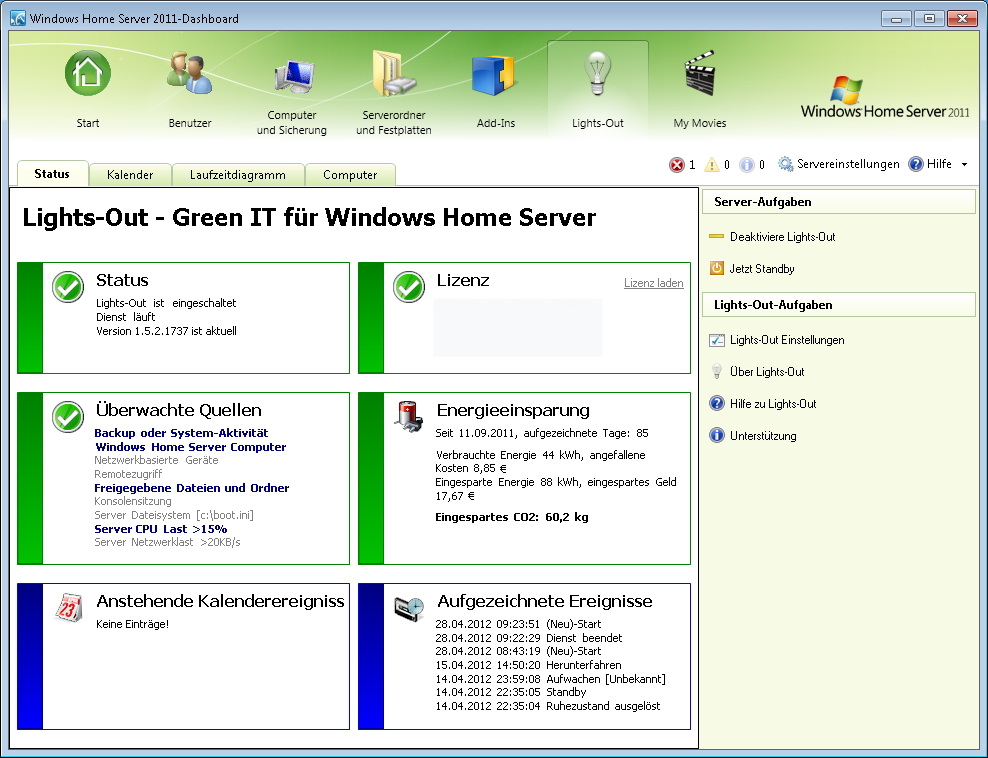 Lights-Out für Windows Home Server 2011 SP2