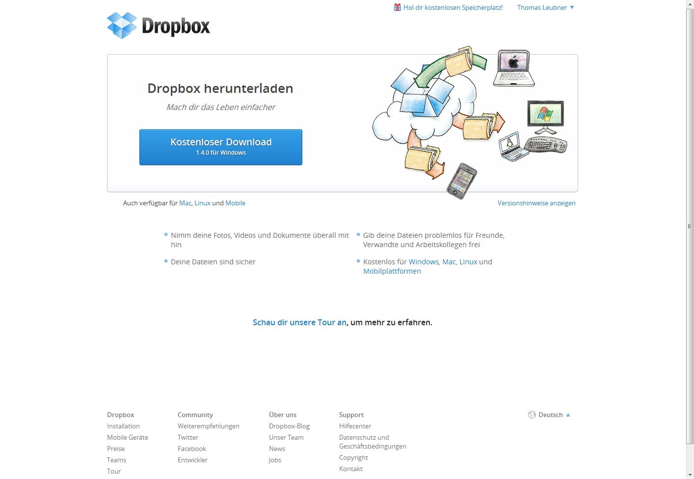 DropBox Version 1.40 für Windows