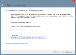 Windows 8 Aktivierung