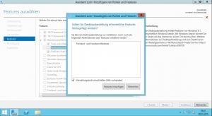 Server 2012 - Assistent zum Hinzufügen von Rollen und Features - Auswahlfenster
